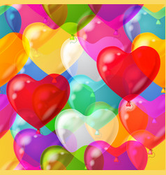 Balloons hearts background seamless vector