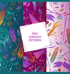 boho set seamless patterns vector image