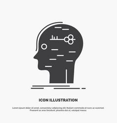 Brain hack hacking key mind icon glyph gray vector
