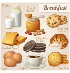 Breakfast 3 Set of cartoon food icons vector image