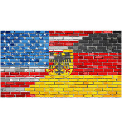 Brick wall usa and germany flags vector