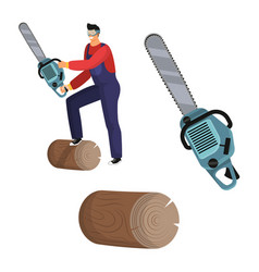 Brutal lumberjack with with chainsaw vector