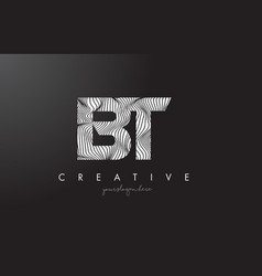 Bt b t letter logo with zebra lines texture vector