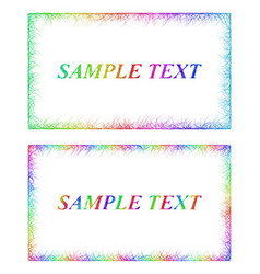 Business card border templates in rainbow colors vector