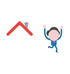 businessman character running away from house roof vector image