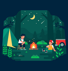 camping people with two human characters having vector image
