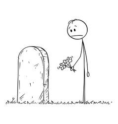 Cartoon sad man with flower visiting grave vector