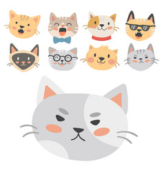 Cats heads cute animal funny vector