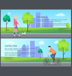 Central city park color banner vector