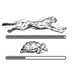 Cheetah and turtle vector