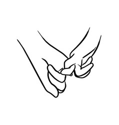 close up at couple hands hook each others little vector image