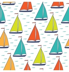 Colorful sailboats seamless pattern vector