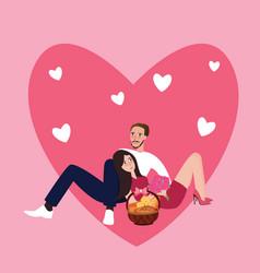 Couple girl man together sleep sitting love shape vector
