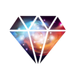 diamond flat icon with space background inside vector image