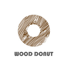 donut logo with wood texture logo design vector image