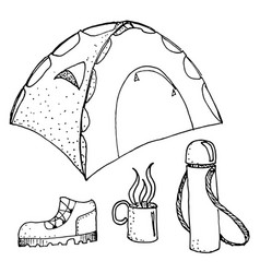 doodle camping set vector image