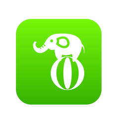 Elephant balancing on a ball icon digital green vector