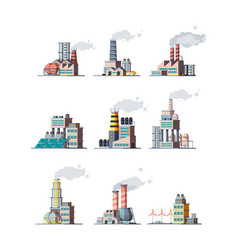 factory industrial buildings smoke modern plants vector image