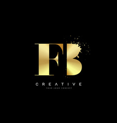 Fb f b letter logo with gold melted metal splash vector