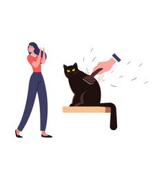 Female character with cat allergy sneezing pets vector