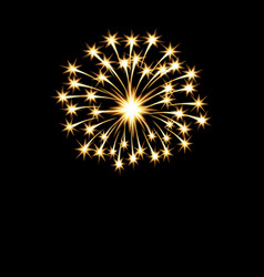 Festive golden bright fireworks salute flash on a vector
