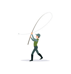 Fisherman throwing fishing rod male fisher vector