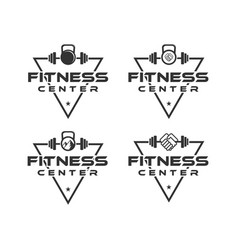 fitness center logo designs with triangle vector image