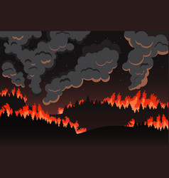 forest fire panorama of the natural landscape vector image