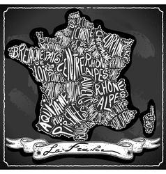 France Map on Vintage Handwriting BlackBoard vector
