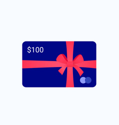 gift bank card with red ribbon and bow vector image