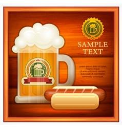 Glass mug of beer sausage vector image