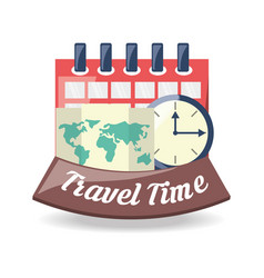 Global map to destinantion of travel with calendar vector