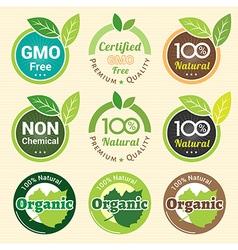 Gmo free non gmo and organic guarantee tag label vector