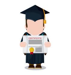 Graduation cap diploma boy icon graphic vector