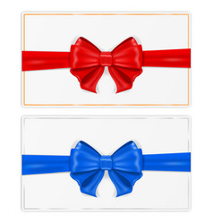greeting cards wrapped with ribbon with red and vector image