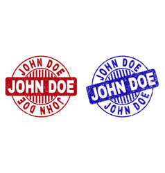 Grunge john doe textured round stamp seals vector