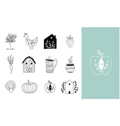 hand drawn farm icon set in doodle style vector image