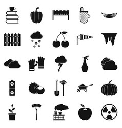 healthy vegetable icons set simple style vector image