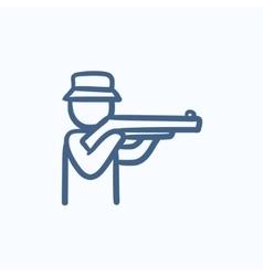 Hunter sketch icon vector image