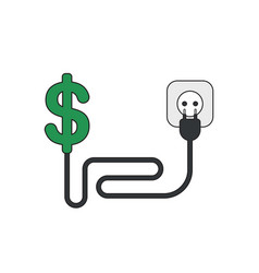 icon concept dollar with cable plug and outlet vector image