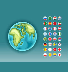 infographics earth map with flags different vector image