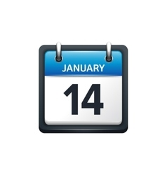 January 14 calendar icon flat vector