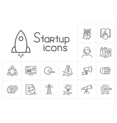 Line startup icons set on white background vector
