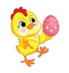 little cute funny yellow chicken with easter egg vector image