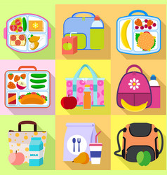 Lunch bag icon set flat style vector