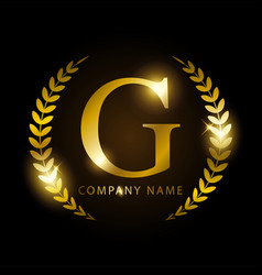 luxury golden letter g for premium brand identity vector image