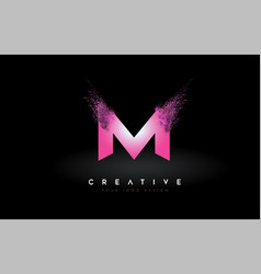 M letter logo with dispersion effect and purple vector