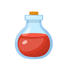 Magic potion in bottle with red liquid isolated vector