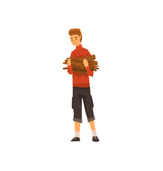 man carrying a bundle of firewood outdoor vector image