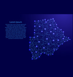 Map of botswana from polygonal blue lines vector